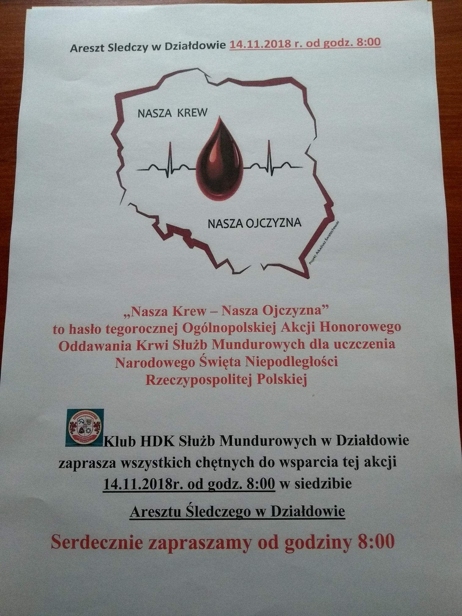 """Akcja poboru krwi. """"Nasza Krew – Nasza Ojczyzna"""""""