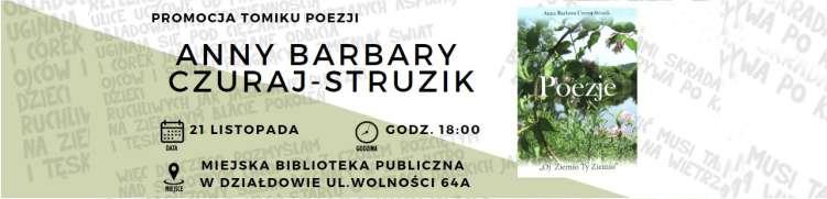 Zapraszamy na promocję tomiku poezji Anny Barbary Czuraj-Struzik