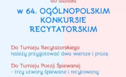 Zapraszamy do udziału w Ogólnopolskim Konkursie Recytatorskim