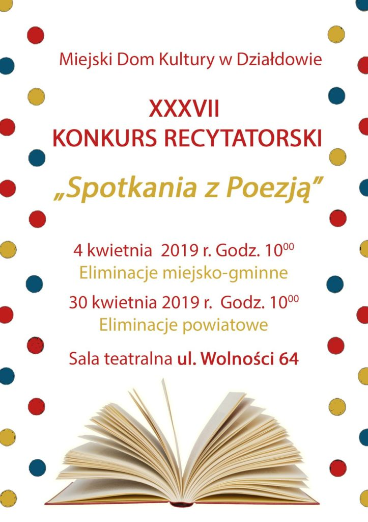 """Weź udział w XXXVII Konkursie Recytatorskim """"Spotkania z Poezją"""""""