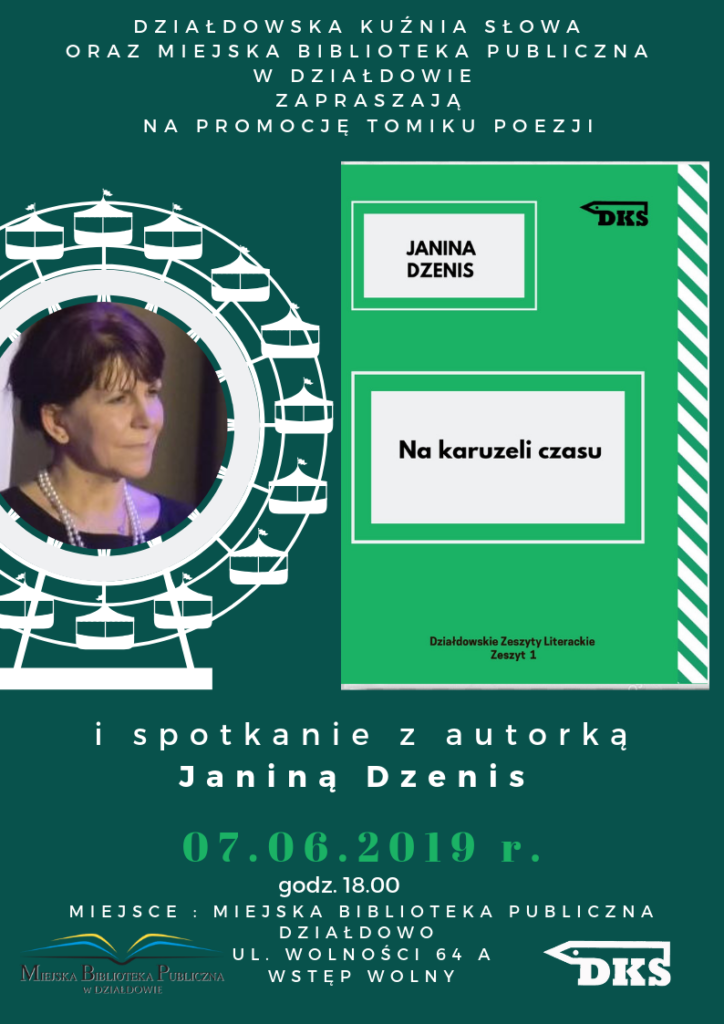 Zapraszamy na promocję tomiku poezji Janiny Dzenis