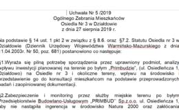 Uchwała Nr 5 /2019 Ogólnego Zebrania Mieszkańców Osiedla Nr 3 w Działdowie z dnia 27 sierpnia 2019 r.