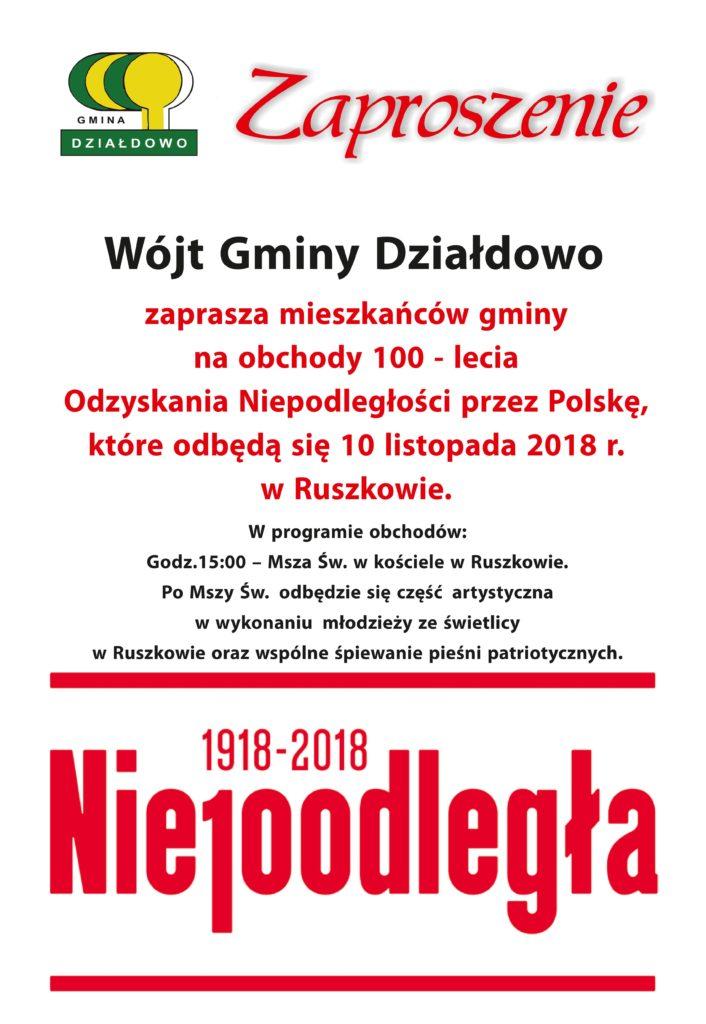 Gmina Działdowo zaprasza na obchody 100-lecia Odzyskania Niepodległości przez Polskę