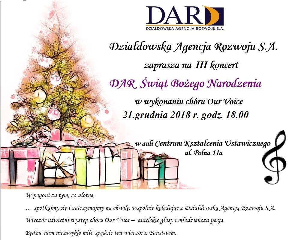 Zapraszamy na koncert - DAR Świąt Bożego Narodzenia