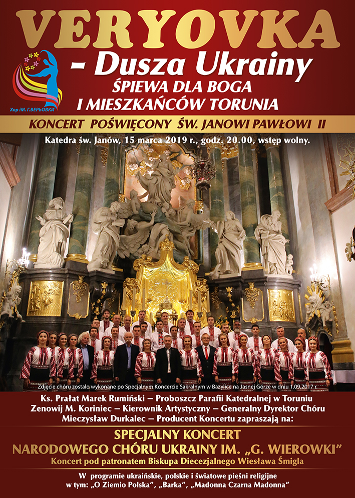 Koncert chóru Veryovka w toruńskiej katedrze