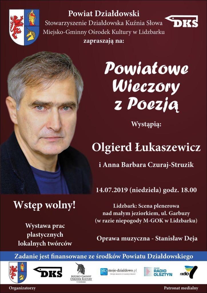 Powiatowe Wieczory z Poezją – Anna Barbara Czuraj-Struzik i Olgierd Łukaszewicz – 14 lipca Lidzbark