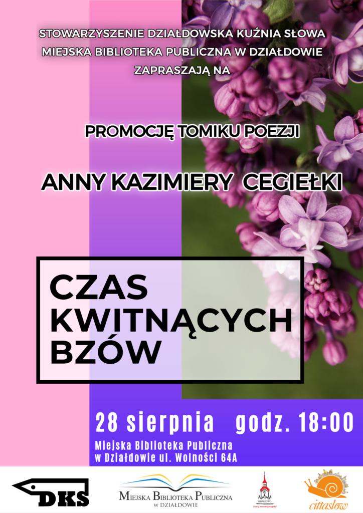 Zapraszamy na promocję tomiku poezji Anny Kazimiery Cegiełki