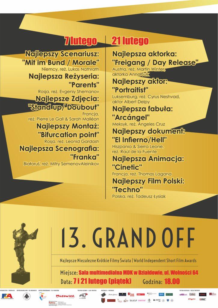 Prezentacja filmów Festiwalu GRAND OFF – 7 i 21 lutego w MDK